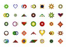 Un sistema de logotipos, de iconos y de elementos gráficos Imágenes de archivo libres de regalías