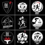 Un sistema de logotipos de los deportes, de emblemas y de elementos del diseño Fotos de archivo libres de regalías