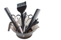 Un sistema de los accesorios del peluquero aislados Imagen común Imagenes de archivo