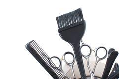 Un sistema de los accesorios del peluquero aislados Imagen común Imágenes de archivo libres de regalías