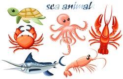 Un sistema de los animales de mar - pulpo, cangrejo, cáncer, pescado-aguja, tortuga y camarón Fotografía de archivo libre de regalías