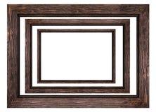 Un sistema de los bastidores de madera marrones para las imágenes y de las fotos aisladas en el fondo blanco stock de ilustración