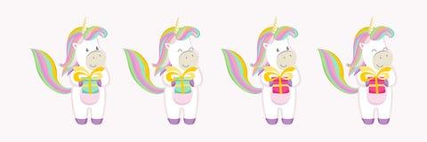 Un sistema de los caracteres de unicornios coloridos con los regalos en sus manos ilustración del vector