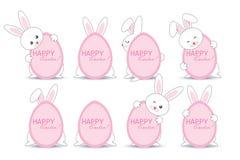 Un sistema de los conejitos de pascua que ocultan detrás de un huevo rosado con una inscripción del día de fiesta de Pascua Ilust ilustración del vector