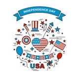 Un sistema de los elementos del diseño para el Día de la Independencia Imágenes de archivo libres de regalías