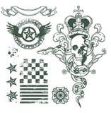 Sistema del diseño del ornamento del cráneo Imagen de archivo libre de regalías