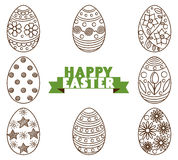 Un sistema de los huevos de Pascua monocromáticos adornados con el ornamento aislado en el fondo blanco
