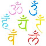 Un sistema de los jeroglíficos del Sahasrar, Ajna, Vishudha, Anahata, Manipura, Svadhistana, chakras de Muladhara Los símbolos de ilustración del vector