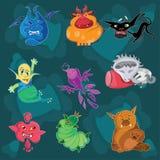 Un sistema de los personajes de dibujos animados de los niños Foto de archivo libre de regalías