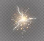 Un sistema de magia del relámpago y de efectos luminosos brillantes Ilustración del vector Corriente eléctrica de la descarga Cor Fotografía de archivo
