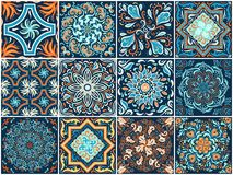 Un sistema de modelos cuadrados en estilo étnico Imagen de archivo libre de regalías