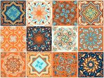 Un sistema de modelos cuadrados en estilo étnico Foto de archivo libre de regalías