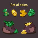 Un sistema de monedas y de dinero para el diseño de juego Un bolso del dinero y de las monedas Fotos de archivo
