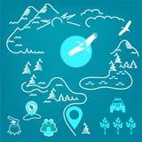 Un sistema de muestras ecológicas, mapa, montañas, bosque, corte, tocón, pájaro, ubicación, grupo de personas stock de ilustración