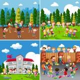 Un sistema de niños que hacen actividad libre illustration