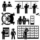Pictograma del trabajador de las finanzas del negocio del banco Imágenes de archivo libres de regalías