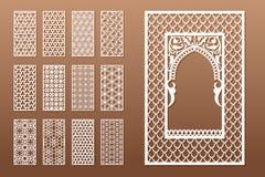 Un sistema de plantillas árabes de la ventana y de los 12 paneles de la privacidad para el corte del laser Diseño en estilo tradi ilustración del vector