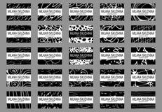 Un sistema de plantillas dibujadas mano de la tarjeta de felicitación del estilo en negro ilustración del vector