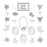 Un sistema de plantillas de los colores de la diversi?n y de un huevo festivo para adornar una tarjeta de felicitaci?n en honor d libre illustration
