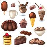 Un sistema de postres y de bebidas del chocolate Tortas, caramelo, galletas, batidos de leche, helado y cacao Foto de archivo