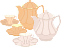 Un sistema de potes y de tazas stock de ilustración