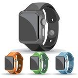 Un sistema de relojes elegantes negros, anaranjados, verdes y azules stock de ilustración