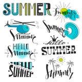 Un sistema de símbolos y de iconos del verano Resto, viaje e inscripciones Imagenes de archivo