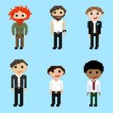 Un sistema de seis imágenes de los varones del pixel ilustración del vector