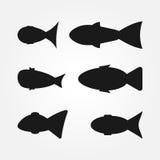 Un sistema de siluetas abstractas de los pescados Seis elementos Foto de archivo
