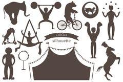 Un sistema de siluetas planas del vector de los artistas del circo stock de ilustración