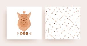 Un sistema de tarjetas de modelo con un perro para la tienda libre illustration