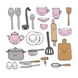 Un sistema de utensilios de la cocina ilustración del vector