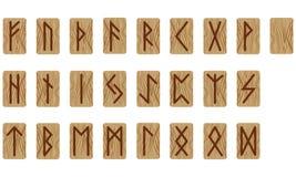 Un sistema de veinticuatro runas y una vacías escandinavo Madera ardiente de imitación Textura de madera fotografía de archivo libre de regalías