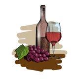 Un sistema de vino Un vidrio, una botella y un manojo de vintage de las uvas dan el ejemplo exhausto del vector del bosquejo Fotos de archivo libres de regalías