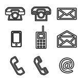 Un sistema del contacto nosotros iconos del vector Imagen de archivo libre de regalías