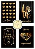 Un sistema del día del ` s de la tarjeta del día de San Valentín de tarjetas con las decoraciones negras del fondo y del oro Fotos de archivo libres de regalías