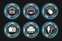 Botones metálicos del dispositivo del azul que brillan intensamente ilustración del vector