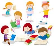 Un sistema del libro de lectura de los niños stock de ilustración