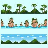 Un sistema del paisaje inconsútil del elemento del pixel ilustración del vector