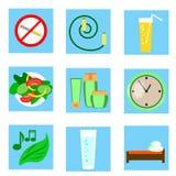Un sistema del vector de iconos que ilustran el estilo de la vida sano Imagenes de archivo