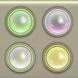 Un sistema del web ligero brillante abotona en colores en colores pastel Fotografía de archivo libre de regalías