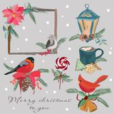 Un sistema festivo de los elementos por el Año Nuevo y la Navidad Un sistema de las decoraciones del invierno, bebidas calientes, ilustración del vector
