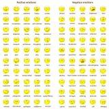 Un sistema grande de caras brillantes del amarillo del garabato con emociones positivas y negativas con nombres Carta de la emoci Imagen de archivo libre de regalías