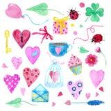 Un sistema grande de los elementos de la acuarela para el día de tarjeta del día de San Valentín o el día de boda Flores, flecha, imagen de archivo