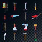 Un sistema grande de los iconos para la construcción, fontanería, jardín, reparación, herramientas en un fondo translúcido: pala, libre illustration
