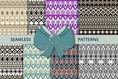 Un sistema grande de teksur inconsútil Estilo étnico para las materias textiles y empaquetar stock de ilustración