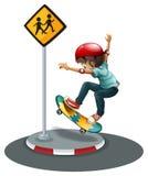 Un skateboarding del ragazzo Fotografia Stock Libera da Diritti