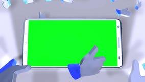 Un smartphone con la pantalla verde en el medio de gustos con los pulgares para arriba ilustración del vector