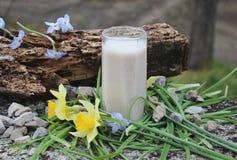 Un smoothie entre las flores Fotos de archivo