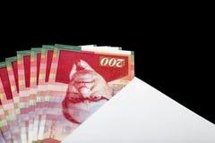 Un sobre con el dinero, cuentas de NIS 200 Fotografía de archivo